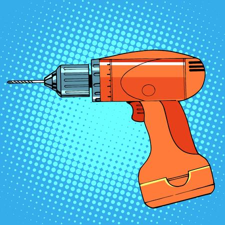 work tool drill screwdriver pop art retro style