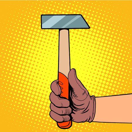 carpintero: Mano con el martillo del arte pop del estilo retro