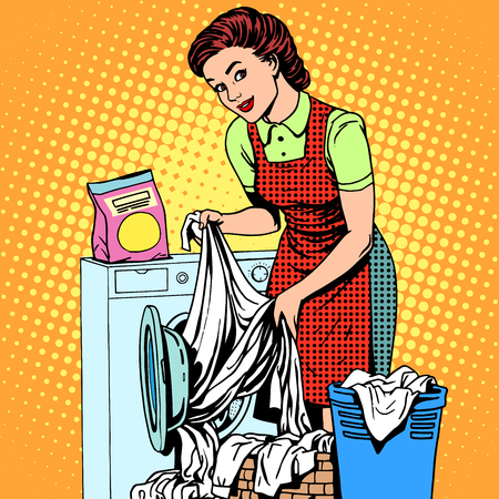 style: A woman washes clothes in a washing machine pop art retro style. Housewife doing the housework. Clean and tidy Illustration