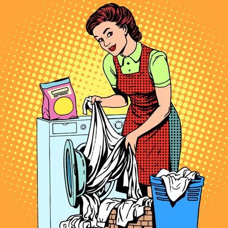 Een vrouw wast kleren in een wasmachine pop art retro stijl. Huisvrouw doet het huishouden. Schoon en netjes
