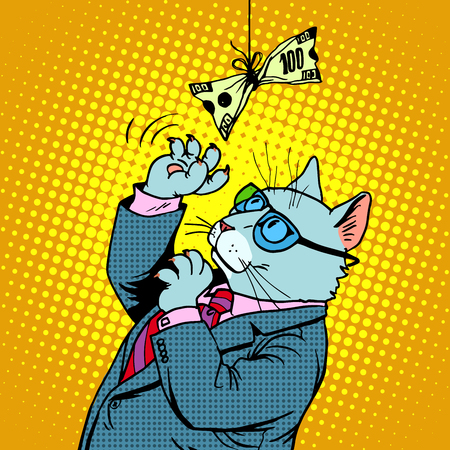 financial success: Business cat and money. Businessman character animal the concept of financial success pop art retro style Illustration