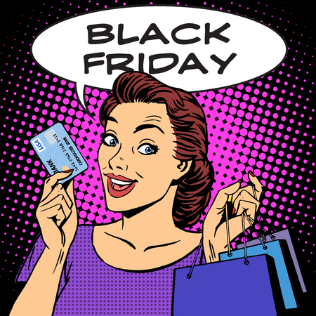 art work: Black Friday woman with business card discounts pop art retro style. Sale buy shopping