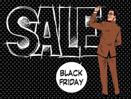 writes: Black Friday businessman writes sale pop art retro style