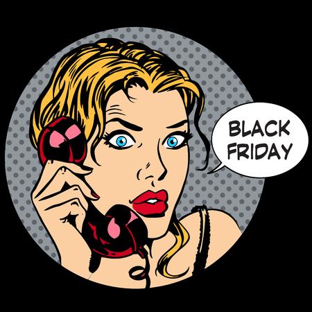 Black Friday Frau Telefonkommunikation Pop-Art Retro-Stil Standard-Bild - 46557211