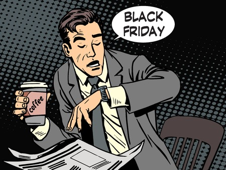 Black Friday businessman in cafe pop art retro style