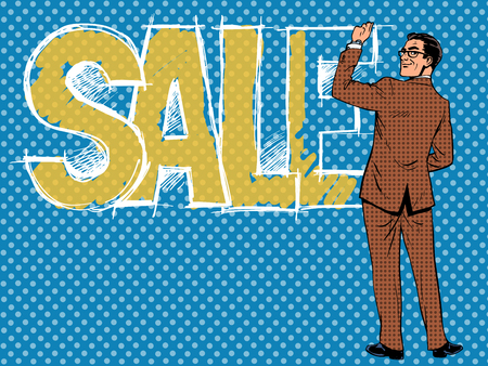 Businessman writing the word sale pop art retro style