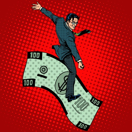stock art: Financial Rodeo businessman riding a dollar pop art retro style. Business concept the rich man and success
