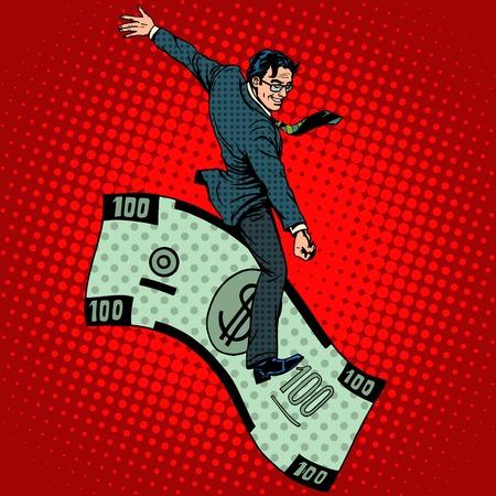 Rodeo financiero hombre de negocios que monta un estilo del arte pop retro del dólar. Concepto de negocio del hombre rico y el éxito Foto de archivo - 46557216
