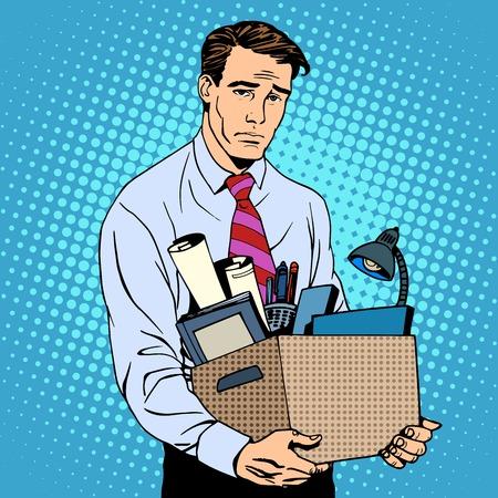 Worker fired pop art retro style business failure unemployment businessman loser