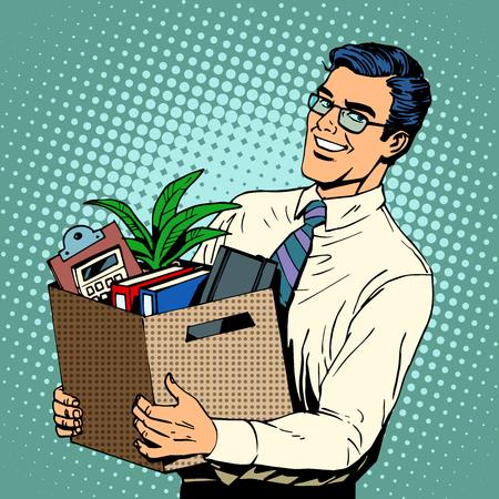 pobre: Nuevo Gerente de trabajo contratado en la oficina de estilo del arte pop retro. Un hombre de negocios carrera