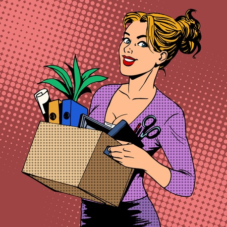 historietas: Nueva dama de negocios trabajo viene a la oficina de estilo del arte pop retro. Carrera de búsqueda de empleo