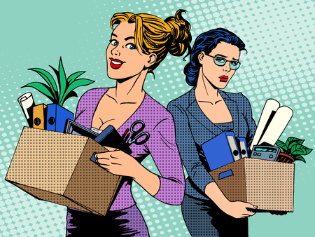 Compétition licenciement de travail d'affaires vacance pop art style rétro. Concept d'affaires du marché du travail, une recherche d'emploi en joie et la tristesse Banque d'images - 46557137