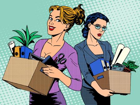 Concurrentie werk ontslag pop zakenvrouw vacature art retro stijl. Business concept van de arbeidsmarkt een baan zoeken in vreugde en verdriet
