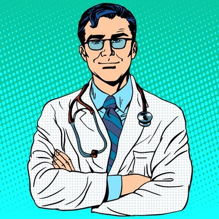 white coat: Doctor therapist medicine and health. Profession white coat stethoscope pop art retro style