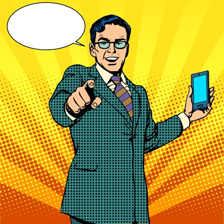 retros: comprar un nuevo aparato y el negocio de la telefonía concepto de arte pop de estilo retro. Empresario promociona teléfono inteligente