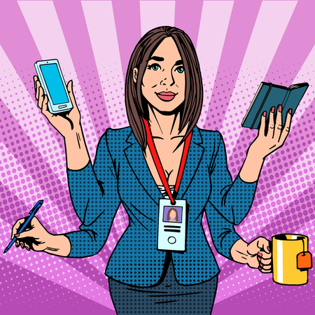 Businesswoman works hard pop art retro style. Business success time management