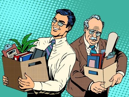 Gepensioneerde business concept het zoeken naar werk en het ontslag pop art retro stijl. Jonge managet komt naar het kantoor op de werkplek oude man. Gelukkige en droevige mensen Vector Illustratie