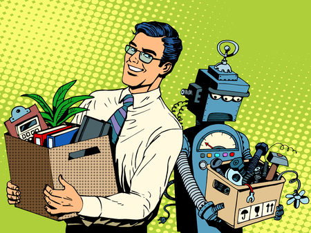 boss cartoon: Man beats robot business concept knowledge and technology pop art retro style. Gadgets and skills