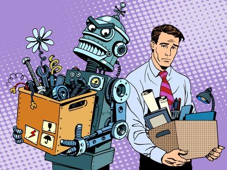 Nieuwe technologieën robot vervangt menselijke pop art retro stijl. Gadgets zijn het veranderen van de wereld Stockfoto - 46550507