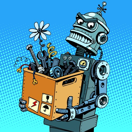 robot vector: Evil robot comes to work pop art retro style. The danger of new technologies Illustration