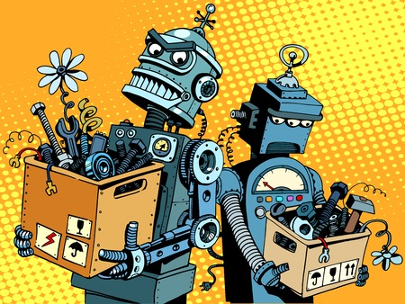 Competition of gadgets and new technologies pop art retro style. Evil robot comes to work. Sad robot retires