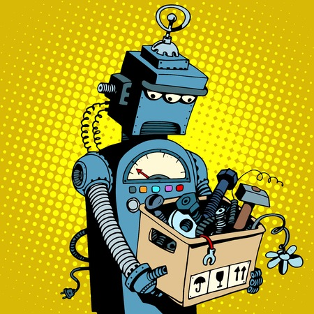 scrap metal: Sad retro robot leaves work pop art retro style. New technology outdated technology