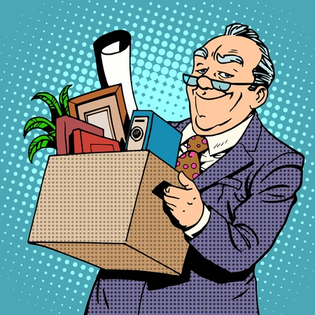 welfare: Happy old businessman goes from the office to a pension