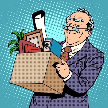 pensionado: Hombre de negocios mayor feliz que va de la oficina a una pensión Vectores