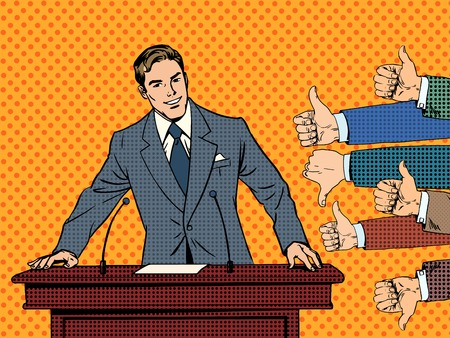 businessman: Businessman speaker business concept like dislike hands. Good or bad speech. The response from the audience Illustration