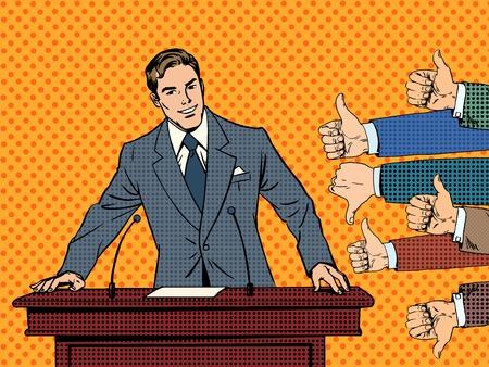 kunst: Geschäftsmann Sprecher Geschäftskonzept wie Abneigung Händen. Gut oder schlecht Rede. Die Antwort von dem Publikum Illustration