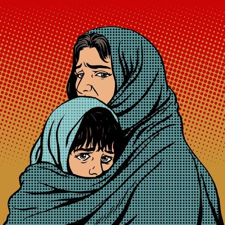 pobreza: Madre de los Refugiados y la pobreza migración infantil. Familia de Oriente. ¡Ay de la tragedia de las emociones humanas. Temática política y social Vectores