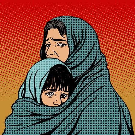 illustration people: Refugee mother and child migration poverty. Eastern family. Woe to the tragedy of human emotions. Political and social theme Illustration