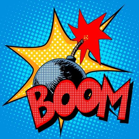 ブーム爆弾爆発コミック ポップ アート レトロなスタイル。テロは破壊の危険性です。 ベクターイラストレーション