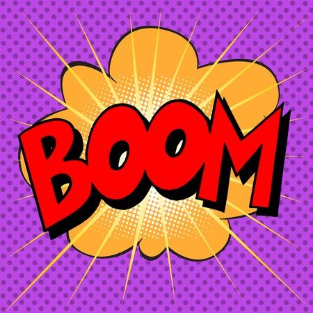 Boom explosie tekst beschrijving in de stijl van de strips pop art retro Stock Illustratie