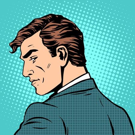 visage profil: affaires homme regarde en arrière pop art style rétro. Un homme de profil
