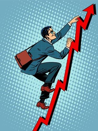 Empresario escalador está subiendo de acuerdo con el calendario de pop ventas de arte de estilo retro Foto de archivo - 46965621