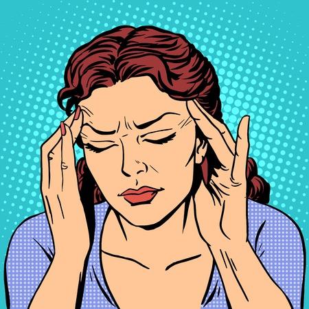 dolor de cabeza: Dolor de cabeza la medicina de la salud de la mujer estilo del arte pop retro