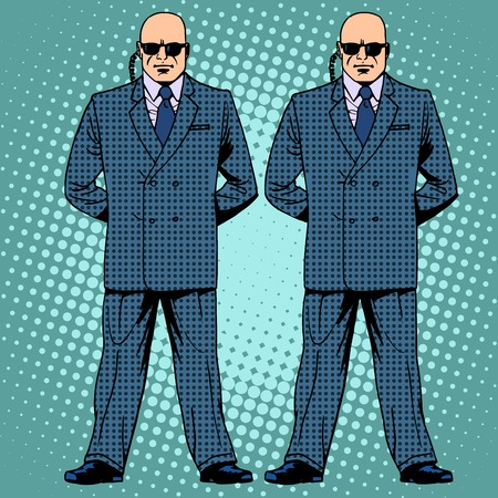 cartoon gangster: bodyguards cordon protection secret service agents pop art retro style Illustration
