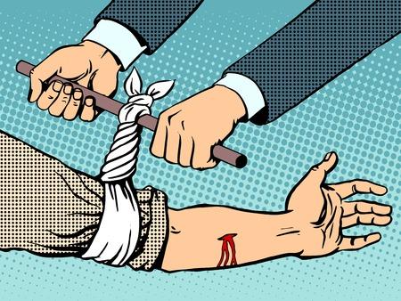 hemorragias: Vendaje para detener el sangrado después de ser herido estilo del arte pop retro. Sangre mano rescate Manual