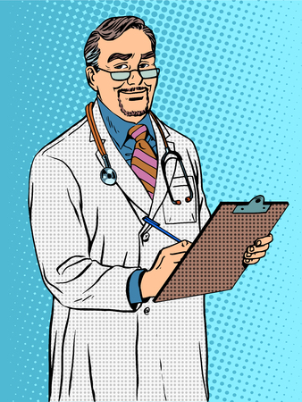 boss cartoon: Doctor of medicine Professor therapist pop art retro style. Male aged with a beard