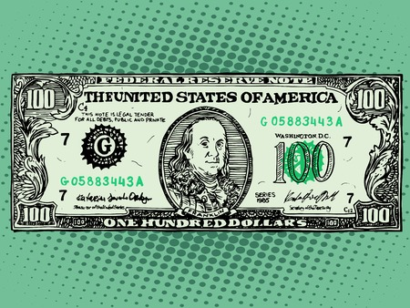 the franklin: Banknote hundred 100 dollars Benjamin Franklin pop art retro style