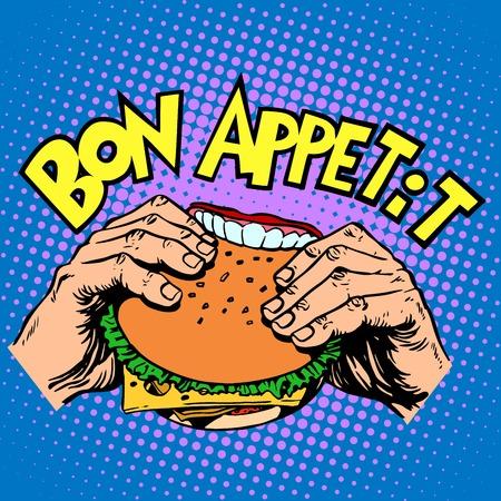 dientes caricatura: S�ndwich Buen provecho Burger es delicioso de comida r�pida arte pop de estilo retro