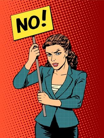 zakenvrouw beleid protest met een poster geen pop art retro-stijl