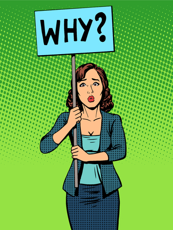 businesswoman: businesswoman policy protest with a poster why pop art retro style