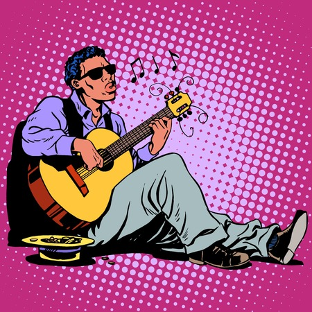 ringtone: Street Blues musician of African descent with a guitar pop art retro style