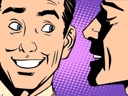 oido: El chisme concepto de negocio del arte pop de estilo retro. Los susurros hombre en su oído