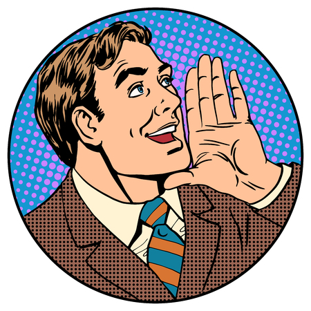 Business concept news announcement advertising pop art retro style. The man yells Illustration