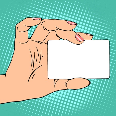 Business card or credit card in female hand pop art retro style
