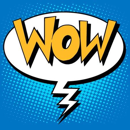 wow: factor WOW el estilo retro del arte pop del estilo cómico inscripción
