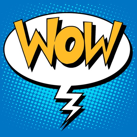 wow factor the inscription comic style pop art retro style Çizim